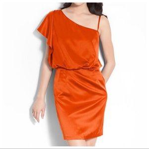 Jessica Simpson Red Satin One Shoulder Dress